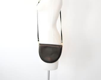 1980s Small Black Leather CrossBody Bag