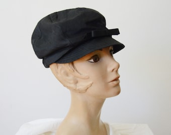 1960s Black Newsboy Cap