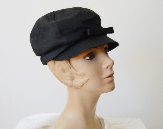 1960s Black Newsboy Cap