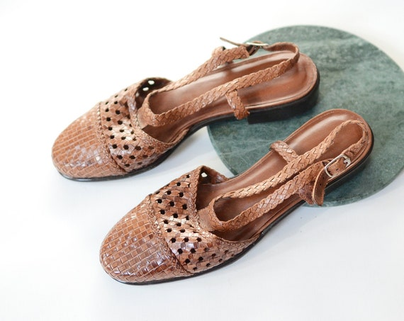 90s Woven Leather Flats - 8