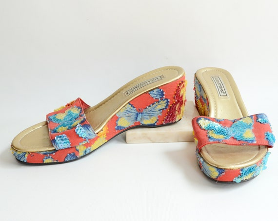2000s Sequined Butterfly Sandals - 7.5/8