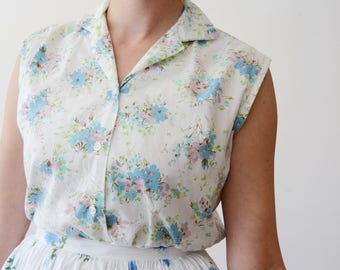 1960s Floral Button Up Blouse - S