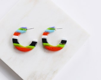60s/70s Lucite Plastic Hoop Earrings