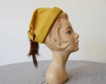 1940s Mustard Hat with Fur Tail