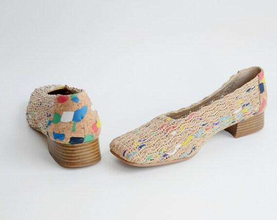 1990s Cork Square Toe Heels - 7M