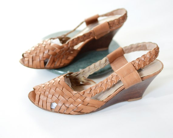 1980s Woven Leather Wedge Sandal - 8.5