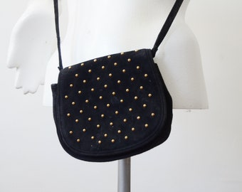 1980s Black Suede Studded Purse