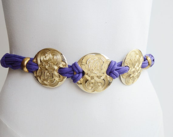 1980s Purple and Gold Rope Belt