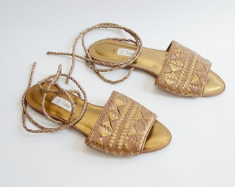 1980s Metallic Leather Sandals - 8B