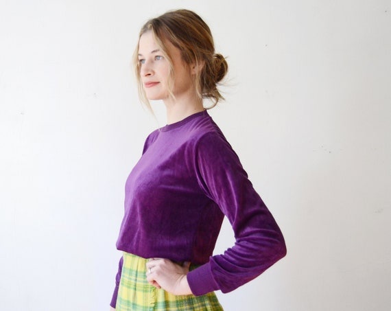 1980s Purple Velour Top - S