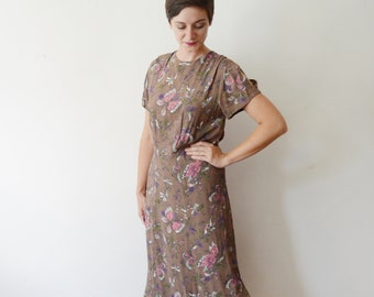 1940s Rayon Crepe Butterfly Novelty Print Dress - M/L