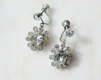 1950s Rhinestone Screwback Dangle Earrings