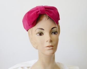 1960s Pink Velvet Donut Hat