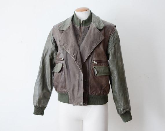 1980s Green Leather Coat - M