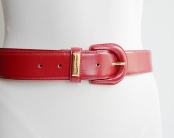 1980s Jones New York Red Leather Belt