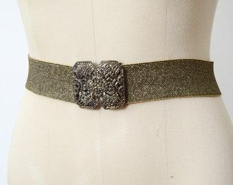 1980s Gold Metallic Elastic Belt - L/XL