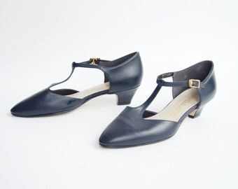 Navy T-Strap Shoes - US7