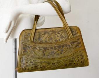 1950s Olive Green Tooled Leather Bag