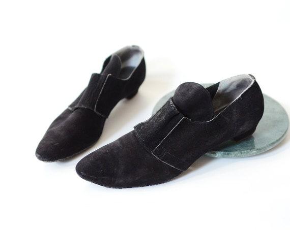 1960s Joseph Magnin Black Suede Shoes