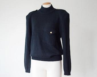 1980s Black Sweater with Epaulettes - M/L