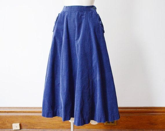 1950s Blue Corduroy Skirt - XS