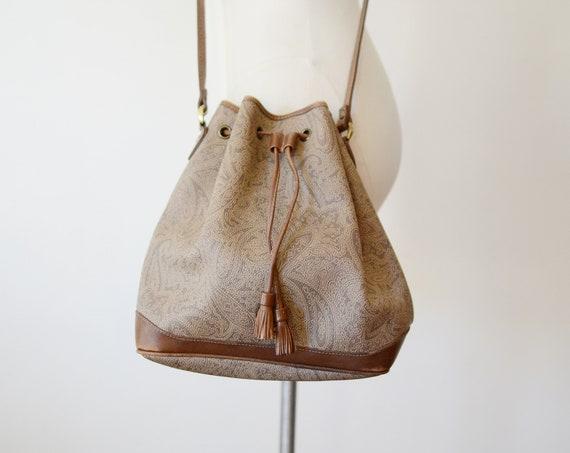 1980s Paisley Leather Drawstring Purse