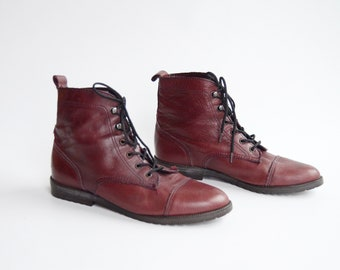 1980s Leather Lace Up Ankle Boots - US6.5