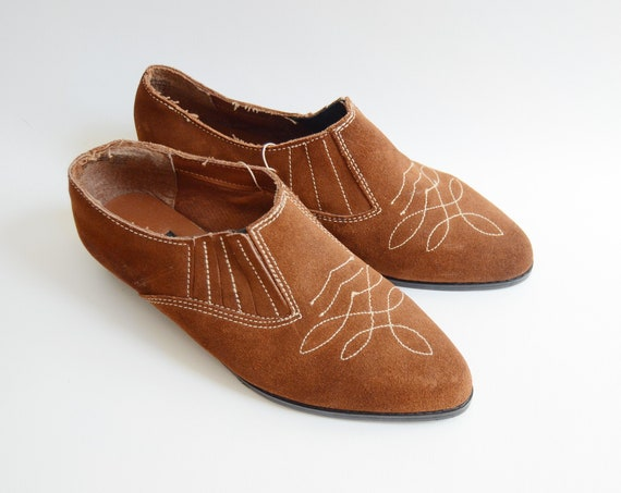 Deadstock 1980s Leather Western Ankle Boots - 8