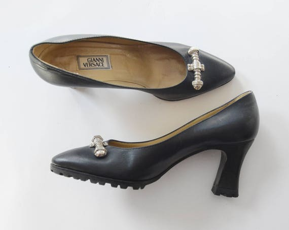1980s/1990s Black GIANNI VERSACE Leather Heels