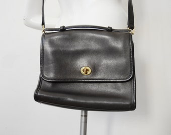 Vintage Black Coach Court Bag