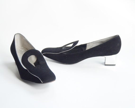 1960s Black and Silver Mod Heels - 8.5AA