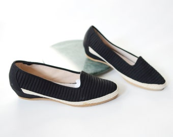 1980s Outdoorables Black Wedge Shoes