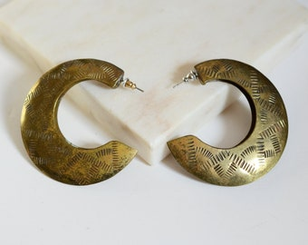 1980s Hammered Brass Hoops