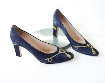 1980s Blue Suede Tassel Heels - 8