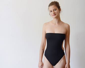 Petite 1970s/1980s Black Strapless Bathing Suit - XS