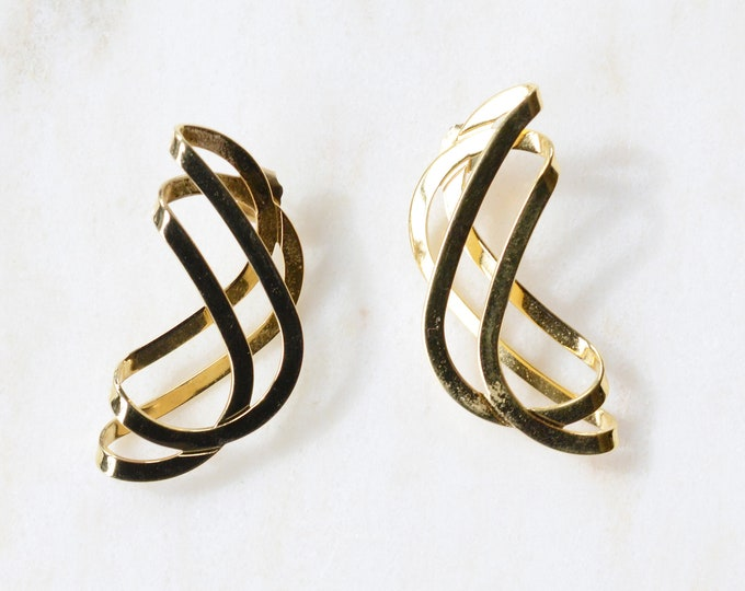 Vintage Gold Spiral Earrings