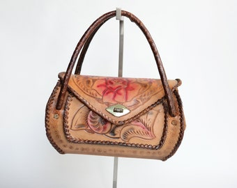 1950s Tooled Leather Rose Handbag