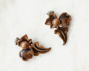 Mid Century Copper Leaf Clip on Earrings