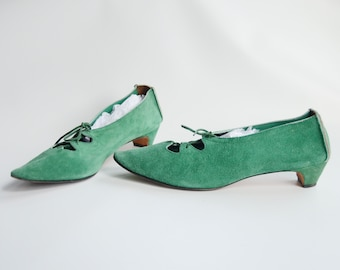 1960s Green Suede Kitten Heels - US8.5N