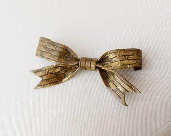 1930s Brass Bow Brooch
