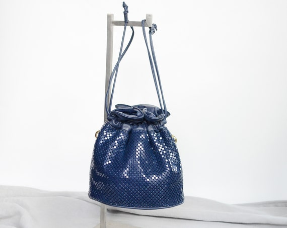 1990s Blue Mesh Whiting and Davis Drawstring Purse