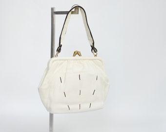 1930s Cream Leather Handbag