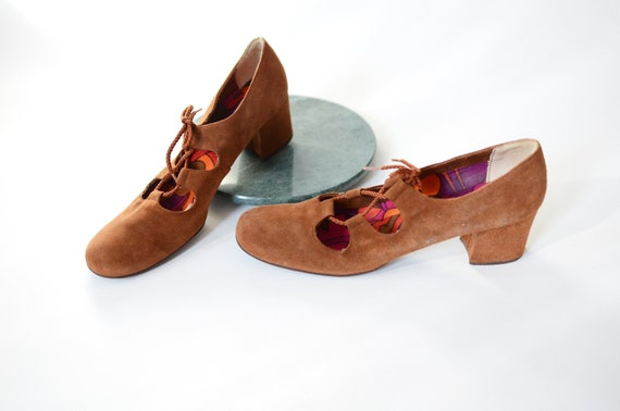 Mod 1960s Brown Shoes - 8