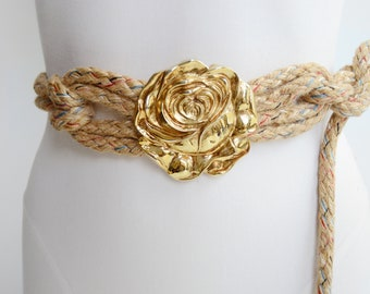 1980s Rope Belt with Rose Buckle