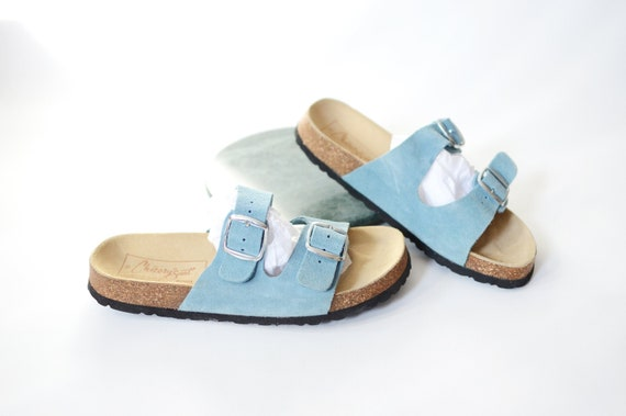 1980s Blue Slip On Sandals