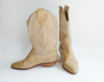 1980s Leather and Suede Western Boots