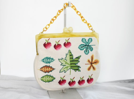 Large Strawberry and Leaf Needlepoint Purse 40s/50s
