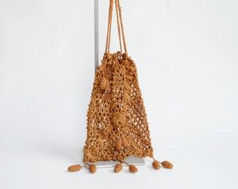 Edwardian Golden Brown Crochet Purse