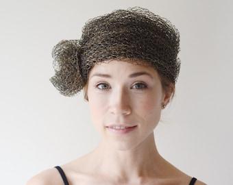1960s/1970s Saks Fifth Avenue Metallic Tulle Hat