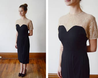 1940s Black and Nude Sequined Dress - S